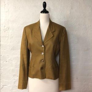 TWEED Linen khaki blazer